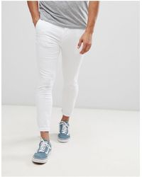 ASOS Pantalon chino court ultra ajusté - Blanc