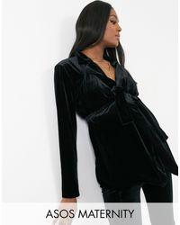 ASOS Americana de traje negra cruzada de terciopelo de ASOS DESIGN Maternity - Negro
