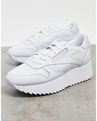 Reebok Белые Классические Кожаные Кроссовки С Сиреневой Вставкой На Заднике -белый