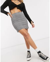 TOPSHOP Check Bengaline Mini Skirts - Grey