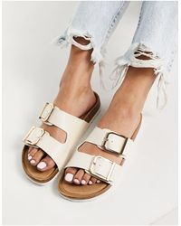 New Look Double Buckle Flat Sandals - White