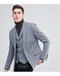 ASOS Asos Tall Slim Blazer In Harris Tweed 100% Wool Light Grey Check - Gray