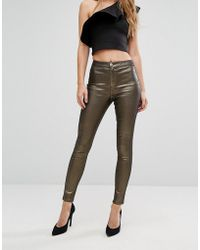 Lipsy - Gold Coated Glitter Jean - Lyst
