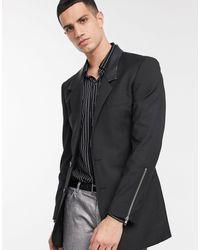 ASOS Skinny Longline Blazer With Zips - Black
