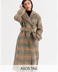 ASOS ASOS DESIGN Tall - Cappotto a quadri con cintura - Multicolore