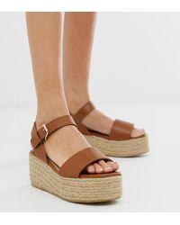 379bd418f85 Miss Selfridge - Espadrille Flatform Sandals In Tan - Lyst