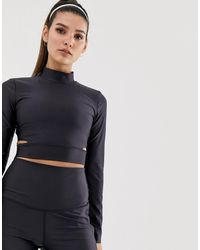 Nike Черный Укороченный Лонгслив С Вырезами По Бокам