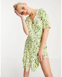 Monki Vestido corto multicolor con estampado floral y botones Winona