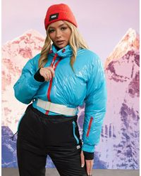 ASOS 4505 Ski - Giacca corta da sci con collo a imbuto e cintura - Blu