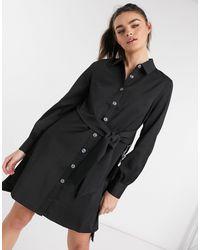Elvi Vestido camisero negro con detalle