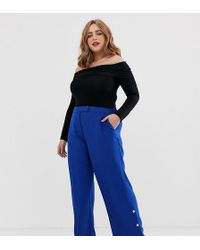 Simply Be Wide Leg Tailored Trousers With Button Detail In Cobalt Blue