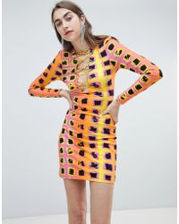 House of Holland - Exclusive Printed Lattice Tie Dress - Lyst