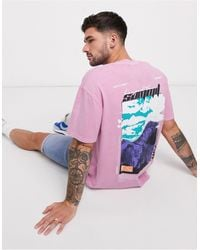 TOPMAN Oversized T-shirt With Beyond Summit Back Print - Pink