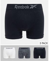 Reebok Lot de 3 boxers sans coutures - Noir, blanc et gris