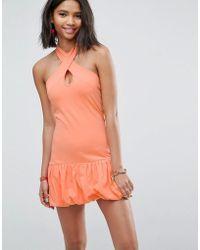 ASOS Asos Mini Halterneck Bodycon Sundress With Gathered Hem - Orange