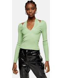TOPSHOP Strappy Halterneck Cut Out Knitted Top - Green