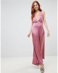 New Look Wide Leg Low Cut Jumpsuit - Pink