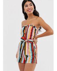 Pimkie - Bandeau Playsuit With Tie Waist In Stripe Print - Lyst