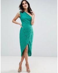 ASOS - Lace One Shoulder Midi Pencil Dress - Lyst