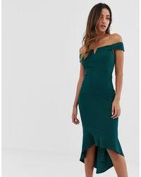 AX Paris Платье С Открытыми Плечами И Асимметричным Краем -зеленый