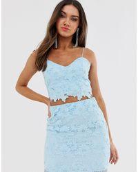 Love Triangle Cami Strap Cut Work Lace Crop Top Co-ord - Blue