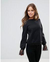 Vero Moda Lace Detail Sweatshirt - Black