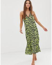 Miss Selfridge Midi Beach Dress In Zebra Print - Green