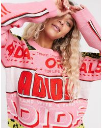 adidas Originals Scarf Print Jumper In Pink And Red
