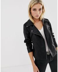 Noisy May Leather Look Jacket - Black