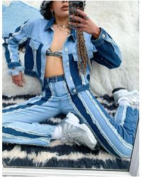 The Ragged Priest Crop Jacket With Frayed Seams - Blue