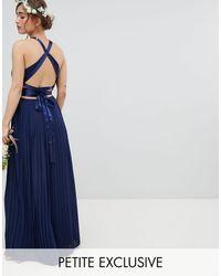 TFNC London Robe longue plissée pour demoiselle d'honneur avec dos croisé et nœud - Bleu