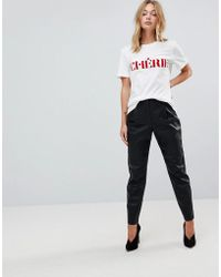 First & I - Faux Leather Peg Leg Trouser - Lyst