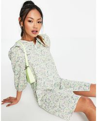 Vila Floral Mini Shirt Dress With Ruffle Collar-multi - Multicolour