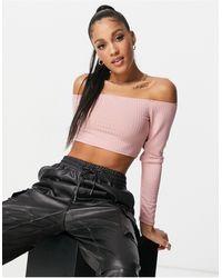 Flounce London Top corto rosa con escote Bardot