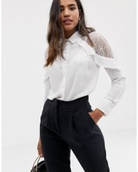Lipsy Lace Cold Shoulder Shirt With Ruffle - White