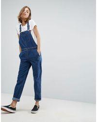 ASOS Salopette di jeans lavaggio stone wash blu