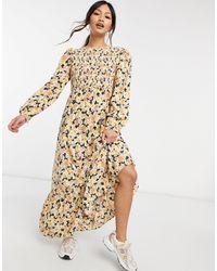 Fashion Union Платье Мидакси С Присборенным Лифом, Ярусной Юбкой И Цветочным Принтом -многоцветный