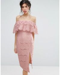 Love Triangle Metallic Lace Bardot Dress With Thigh Split - Pink