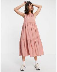 Vila Розовое Ярусное Платье Миди -multi - Розовый