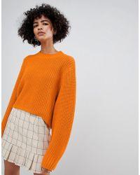 Weekday - Thick Rib Cropped Jumper In Orange - Lyst