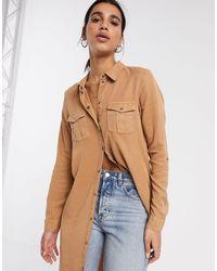 Vero Moda Lang Overhemd Met Handige Details - Bruin