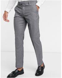 Farah Grey Plain Slim Fit Suit Trousers