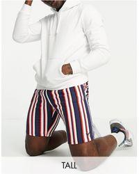 Threadbare Shorts a rayas rojas, azul marino y blancas - Multicolor