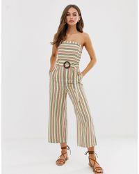 Moon River Bandeau Jumpsuit With Waist Belt - Multicolor