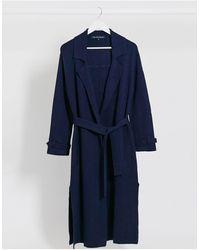 French Connection Темно-синее Длинное Пальто С Поясом -синий