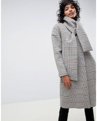 ASOS - Check Coat With Neck Tie Detailing - Lyst