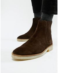 ASOS Chelsea Boots In Brown Suede With Faux Crepe Sole