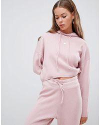 Boohoo - Crop Hoodie Two-piece In Pink - Lyst