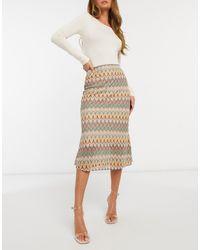 Never Fully Dressed Contrast Crochet Knitted Midi Skirt - Natural