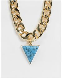 ASOS Necklace With Curb Chain And Faux Turquoise Triangle Pendant - Metallic
